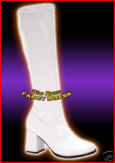 WHITE M # 60s 70s GOGO FANCY DRESS BOOTS NEW SIZE 9
